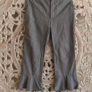 Zara Plaid Trousers with Ruffle Edge